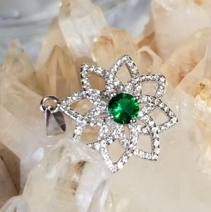 3CT Emerald 925 necklace